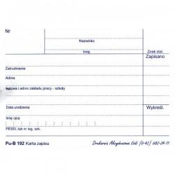 Karta zapisu - zobowiązania