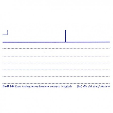 Karta katalogowa z liniami