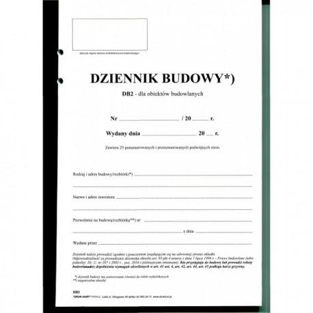 Dziennik budowy DB2 środki papier samokopiujący