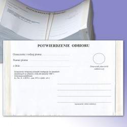 Potwierdzenie odbioru na podstawie ordynacji podatkowej z podwójnym klejem avers, druki dla urzędów