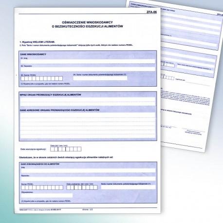 ZFA-06 - oświadczenie o bezskuteczności egzekucji alimentów.