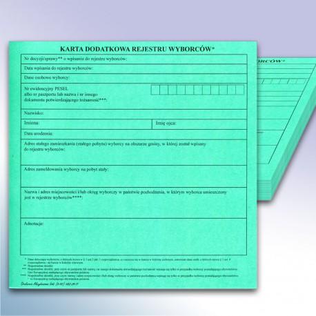 Karta Dodatkowa Rejestru Wyborców  - zielona