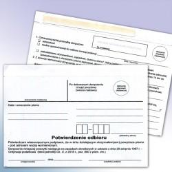 Potwierdzenie odbioru, na podstawie ordynacji podatkowej, karton z pojedyńczym klejem